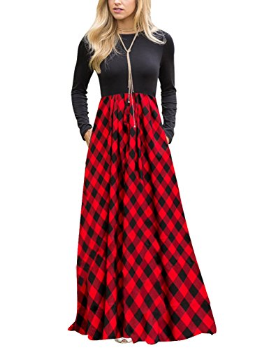 MEROKEETY Women's Plaid Long Sleeve Empire Waist Full Length Maxi Dress with Pockets (Family Photos Outfits Christmas)