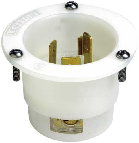 Leviton 2315 20 Amp, 125 Volt, Flanged Inlet Locking Receptacle, Industrial Grade, Grounding, White (Leviton Locking Outlet)