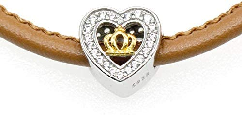 Calvas Heart Charms 925 Sterling Silver Prince Crown Fall in Love Romantic CZ Beads fit Bracelet Bangle Necklace Women Fashion Jewelry