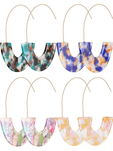Acrylic Resin Hoop Earrings Bohemian Drop Dangle Tortoise Shell Round Circle Statement Geometry Mottled Lightweight for Women and Girls (Style C)