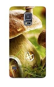 Galaxy S5 Mushroom Houses Print High Quality Tpu Gel Frame Case Cover