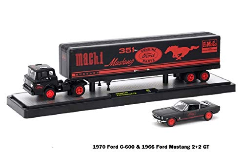 """m2 machine Auto-Haulers Limited Edition 1:64 Scale Die-Cast Vehicle Set """" 1970 Ford C-600 & 1966 Ford Mustang 2+2 GT """""""
