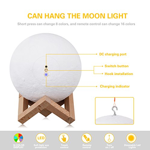 3D Moon Lamp Printing Pendant Night Light,Elstey Remote Control 16 Colors Changing LED Lunar Moonlight with Hook & Wood Stand Base for Kids Room Home Decor 20CM