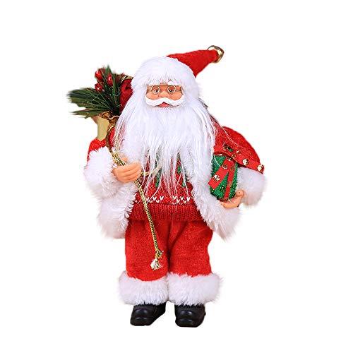 Pausseo Christmas Santa Claus Doll Toy Figurine Ornaments Decoration Christmas Old Man Tree Apple Home Decor Handmade Santa Cloth Doll Birthday Present Holiday (C) ()
