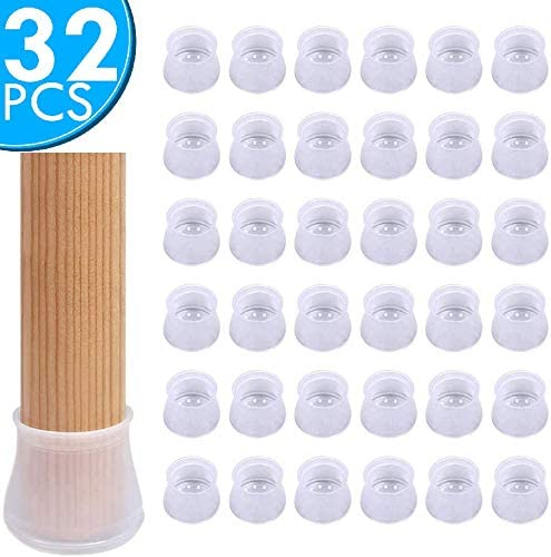 32 PCS Chair Leg Caps Silicone Floor Protector Round Furniture Table Feet Socks - Furniture Silicon Protection Cover Anti-Slip Bottom Chair Pad- Prevents Scratches & Noise Without Leaving Marks.