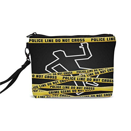 Murder Scene Simple Cosmetic Bag,Chalk Outline of Victim and Yellow Bands Death Investigation Detective Decorative for Women,9