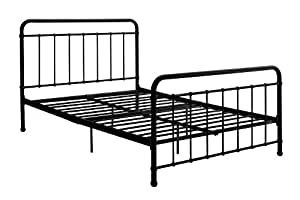 "DHP Brooklyn Metal Iron Bed w/Headboard and Footboard, Adjustable height (7"" or 11"" clearance for storage), Sturdy Slats Included, No Box Spring Required, Full Size Mattress, Black"