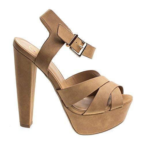 Delicious Sedona Light Tan Nubuck Towering High Platform Block Heel Sandal, Women's Open Toe Chunky Shoes -7.5