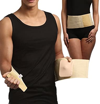 Umbilical Hernia Belt, Abdominal Binder, Navel Truss with Removable Bandage, Support Wrap (Size 2)