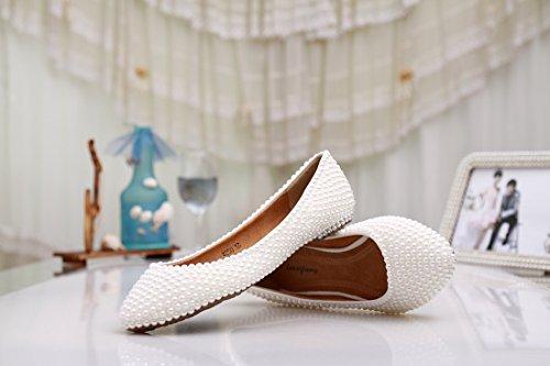 ballerine confortevole wedding Minitoo Silver MZLL030 moda Handmade party satin Evening nbsp;donna Prom Pearl wWq4tvpq