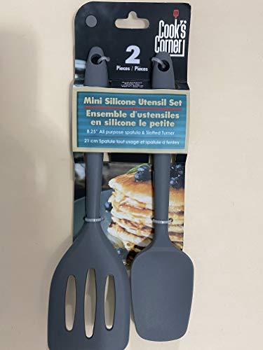 Cook's Corner 2-Piece Mini Silicone Utensil Set - Spatula / Spoonula (Grey)