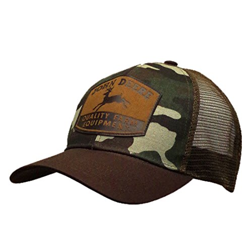 John Deere Men's Camo and Mesh Suede Patch, Brown, One Size
