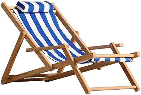 Silla plegable Sillón silla plegable portátil de jardín del patio de casa de retiro Resto caballo terraza silla de jardín montar en madera maciza Silla plegable,rayas azules y blancas,2 estilos B.,si