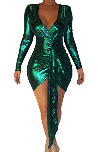 BestGirl Women's Sexy Dress Deep V Neck Long Sleeve Ruched Sparkly Bodycon Club Mini Dresses Green, XX-Large