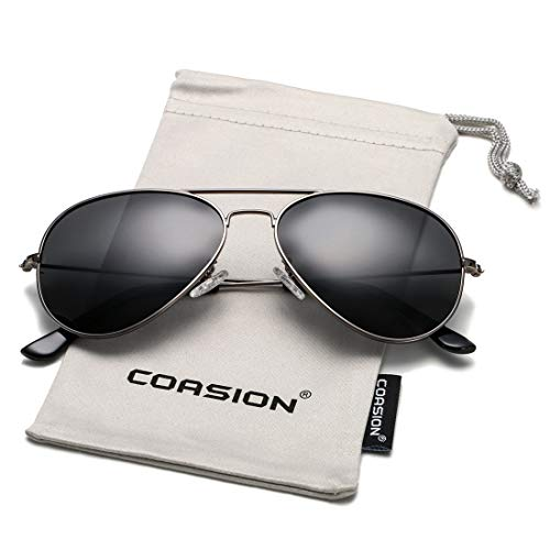 COASION Classic Polarized Aviator Sunglasses for Men Women Mirrored UV400 Protection Lens Metal Frame (Gunmetal Frame/Black Lens) (Aviator Large Metal Polarized)