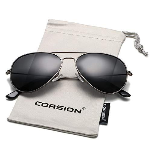 COASION Classic Polarized Aviator Sunglasses for Men Women Mirrored UV400 Protection Lens Metal Frame (Gunmetal Frame/Black Lens)