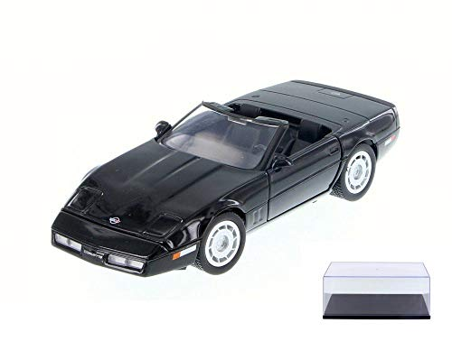 (Motor Max Diecast Car & Display Case Package - 1986 Chevy Corvette Convertible, Black 73298/16D - 1/24 Scale Diecast Model Toy Car w/Display Case)