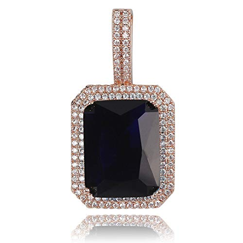 (JINAO Hip Hop 6 Colors Solitaire Pendant Cubic Zirconia Halo Pendant Necklace with Solid Back (Blue Black, Rose-Gold-Plated-Stainless-Steel))