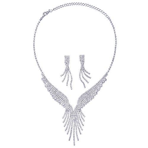COOLSTEELANDBEYOND Wedding Bridal Prom Rhinestone Cluster Tassels Long Dangle Y-shape Statement Necklace Earrings Set