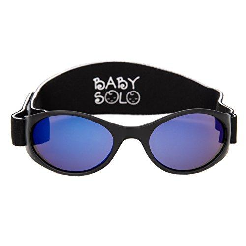Baby Solo Babyfarer Baby Toddler Sunglasses/Infant Newborn Sunglasses (0-36 months, Matte Black Frame w/Aqua Blue Mirror Lens)