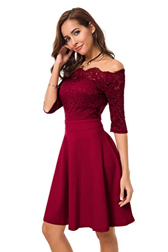 Womens Vintage Lace Off Shoulder Puffy Swing Dresses Sexy Mini Dress for Party Cocktail