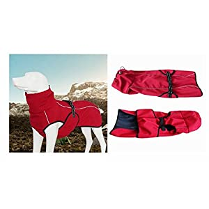 Dog Coats Technical Jacket Sport Parka Outdoor Coat,Waterproof Windproof Fleece Lined Dog Coat Outdoor Clothing with Reflective Stripes,Stylish Sport Coat for Large Dogs by U Only You (Medium, Red)