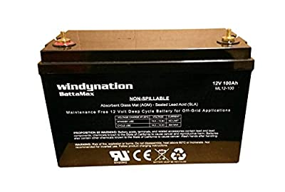 Best Cheap Deal for WindyNation 12V 100 Amp-Hour (240 Minute Reserve Capacity) AGM SLA Deep Cycle VRLA Battery RV, Solar, Wind, Marine, Off - Grid from WindyNation BattaMax - Free 2 Day Shipping Available
