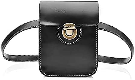 abf78ca6e562 Amazon.com: Hotpaint Black Leather Fanny Pack - Hip Pack for Women ...