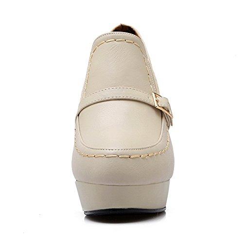 BalaMasa da donna Decolte solido Pull-On round-toe altezza della piattaforma Imitated in pelle pumps-shoes, Beige (Beige), 38