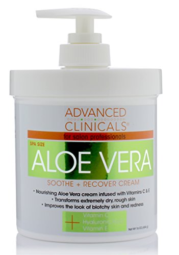 16oz Advanced Clinicals Aloe Vera Cream. Aloe Vera with Vitamin C, Hyaluronic Acid and Vitamin E cream for dry, rough skin, and redness. Large spa size 16oz cream with pump.