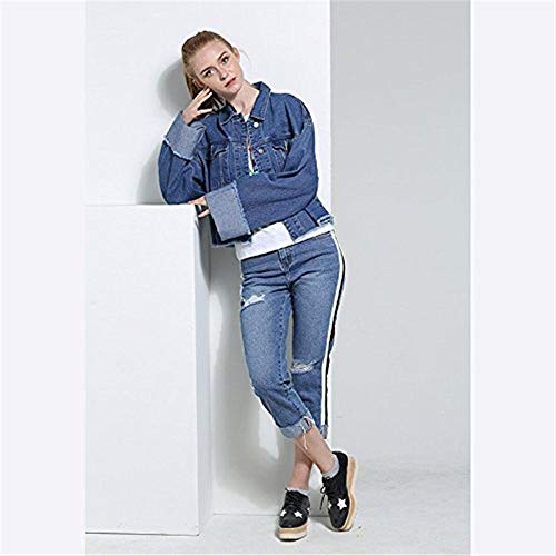 Blau Cappotto Ragazze Breasted Giacche Elegante Outerwear Single Bavero Corto Moda Lunga Manica Style Autunno Confortevole Giaccone Festa Jeans Tasche Donna Anteriori Giovane Casual w81nq1BX