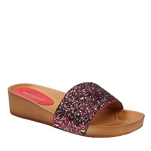 Ideal Shoes Barfuß Glitterlack Fadia Rot