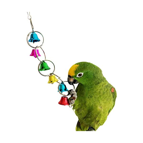 Bells Bird Toy Colorful Chewing Hanging Cage Bite 3
