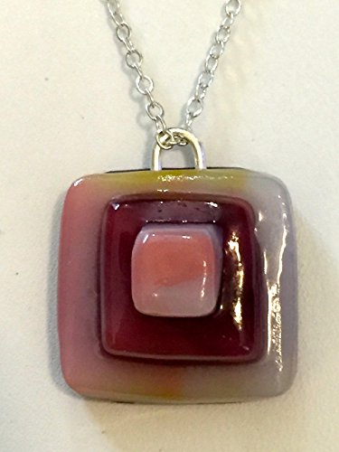 Beautiful Designer Handcrafted and Kilnformed 3-Dimensional Fused Glass Art Pendant, Necklace