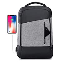 Business Travel Backpack, Laptop Backpack with USB Charging Port for Men & Women, Anti-Theft Water Resistant College School Bookbag Computer Backpack Fits 15.6 Inch Laptop & Notebook