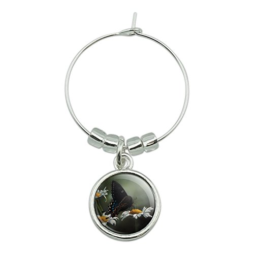 Black Swallowtail Butterfly and Daisies Wine Glass Charm Drink - Wine Daisy