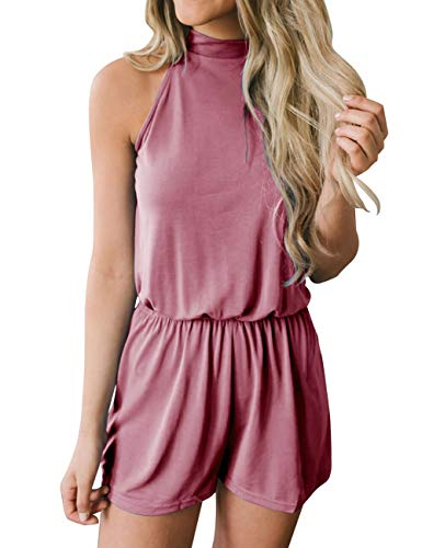 MEROKEETY Women's Summer Halter Neck Shorts Elastic Waist Solid Color Jumpsuit Rompers