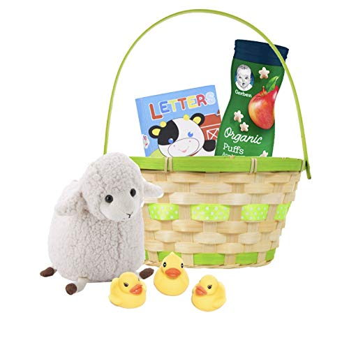 Easter Baby Organic Basket for Young Children Toddlers Kids with 10 inch Stuffed Lamb Plush, Gerber Organic Puffs, Soft Picture Book and 3 Rubber Duckies in Straw Basket Bundle
