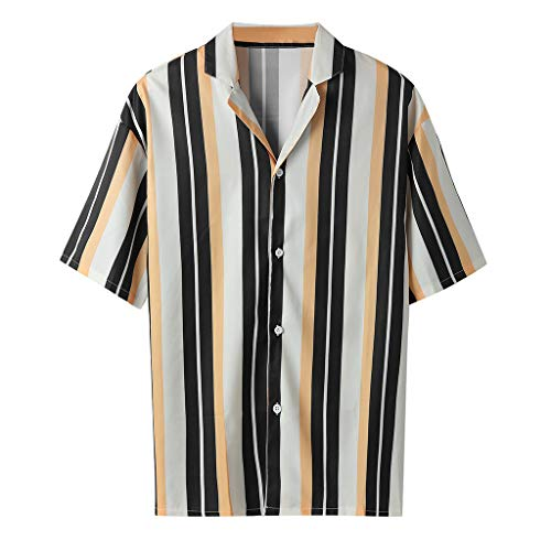 Rakkiss_Men Shirts Fashion Striped Blouse Casual Lapel Long Sleeve Summer Tops Tee Yellow