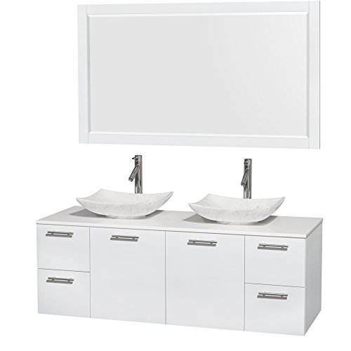 Wyndham Collection Amare 60 inch Double Bathroom Vanity in Glossy White, White Man-Made Stone Countertop, Arista White Carrera Marble Sinks, and 58 inch (Double Sink Bathroom Countertop)