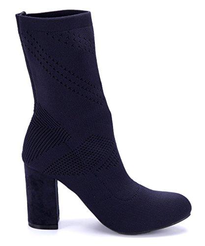 Schuhtempel24 Damen Schuhe Klassische Stiefeletten Stiefel Boots Blockabsatz 9 cm Blau