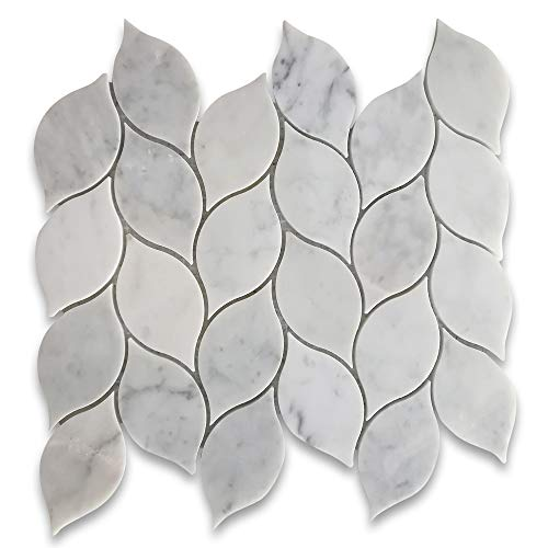 Carrara Marble White Carrera Venato Medi Leaf Shape Mosaic Tile Polished