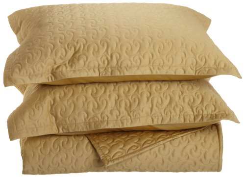 Fine Italian Linen - Tuscany Fine Italian Linens Egyptian Cotton Quilted Coverlet Set, King, Gold