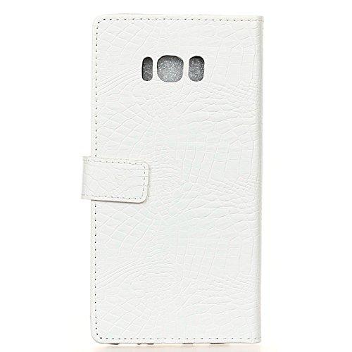 Carcasas y fundas Móviles, Para la caja de la galaxia S8 Plus de Samsung, diseño creativo de la textura del cocodrilo caja de cuero de la PU de la carpeta del tirón del diseño para Samsung Galaxy S8 m White