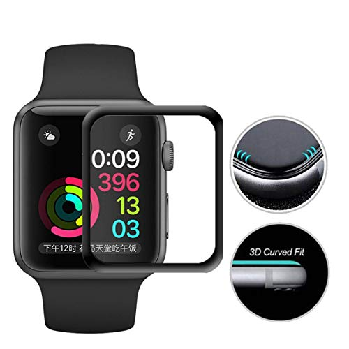 Screen Protector Compatible with 44mm Apple Watch Series 4, Full Coverage Tempered Glass Screen Guard Curved Edge Scratch-Proof Face Cover