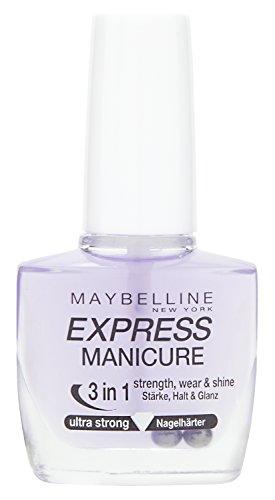 Maybelline New York Make-Up Nailpolish Express Manicure Nagellack Ultra Strong 3 in 1 / Nagelhärter für gestärkte, glanzvolle und feste Nägel, 1 x 10 ml