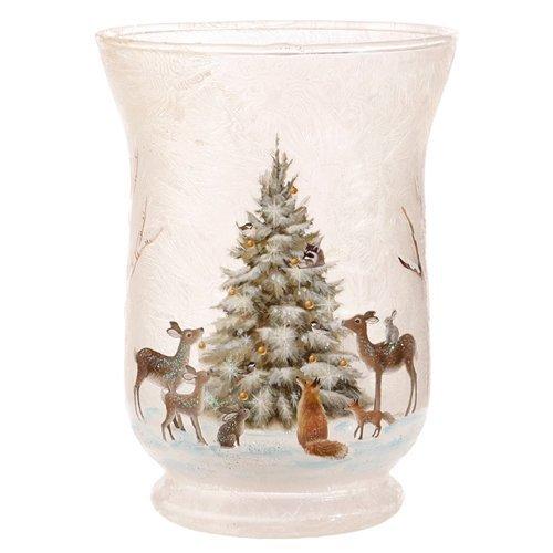RAZ Snowy Woodland Animals Votive Candle Hurricane Christmas Holder