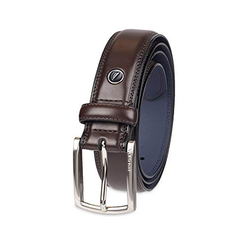 Nautica Men's Belt with Dress Buckle and Stitch Comfort,Brown,34 ()