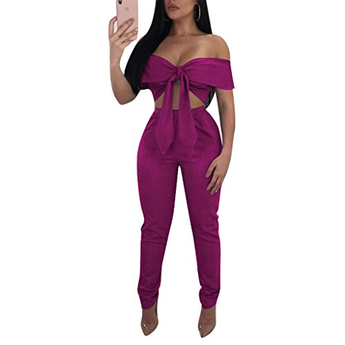 Tie Top Pant - Metup 2 Piece Outfits for Women Tie Knot Off The Shoulder Crop Top Casual Long Pants Set Clubwear Purple L