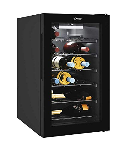 🥇 Candy Vinoteca CWC021M – 21 Botellas – Baldas cromadas – Display electrónico – Iluminación interna LED – Color Negro